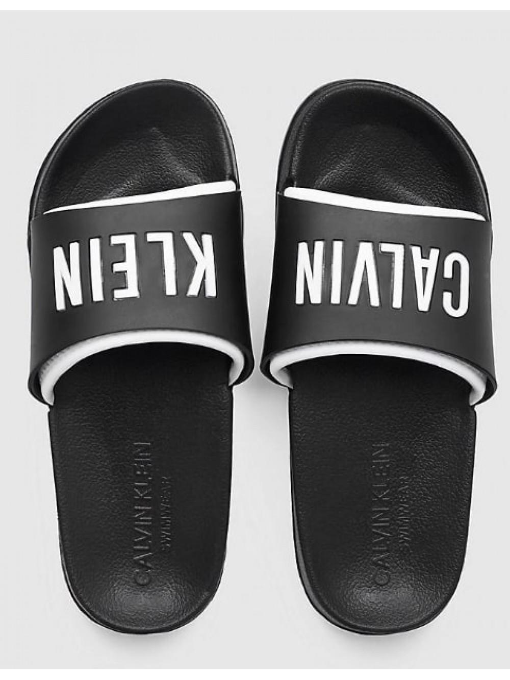 Damen Pantoffeln Calvin Klein Slide Schwarz-Weiß
